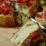 Pesto and Bruschetta Cheesecake, slice