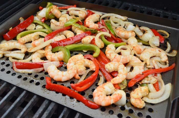 Grilling shrimp and vegetables photo