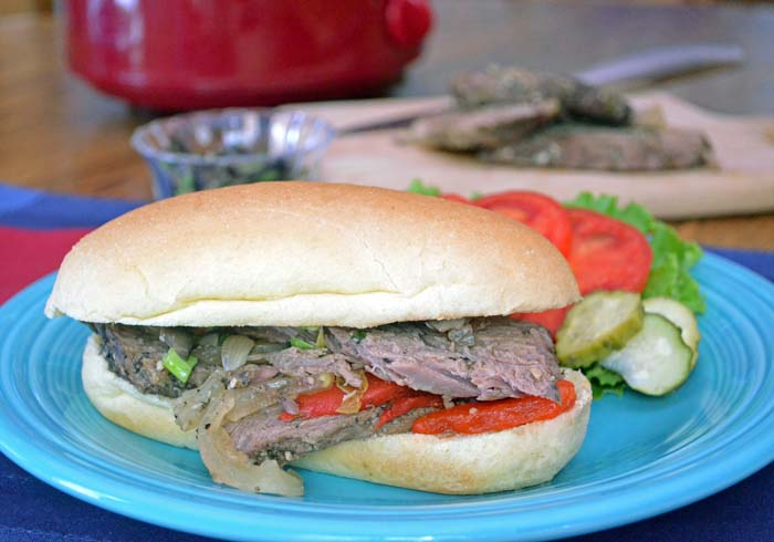 Slow cooker beef sandwich photo