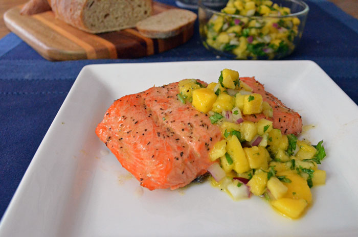 Peach Mango Salsa on Salmon