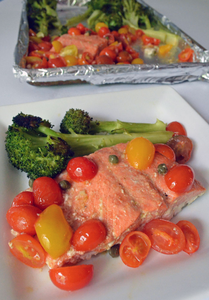 Roasted Salmon with Broccoli and Tomatoes