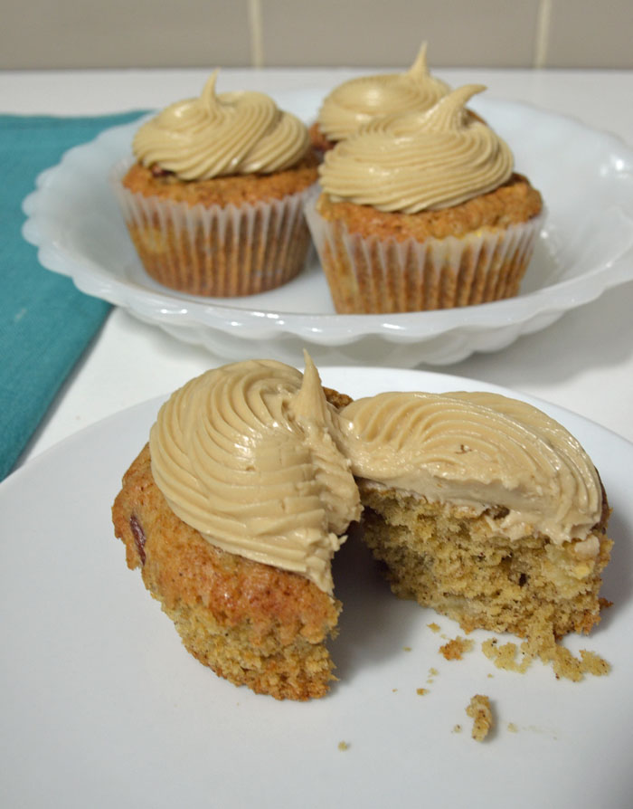 Apple Pecan Cupcakes with Maple-Brown Sugar Frosting